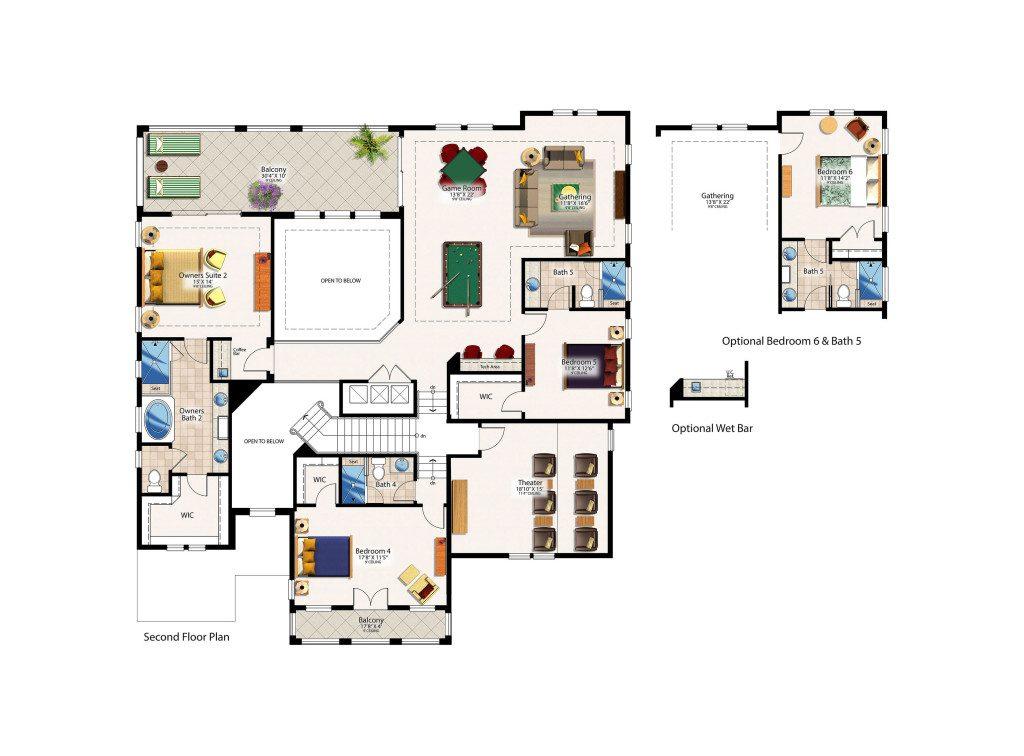 Lockhart Second Floor Plan - Canopy Oaks Winter Garden Home