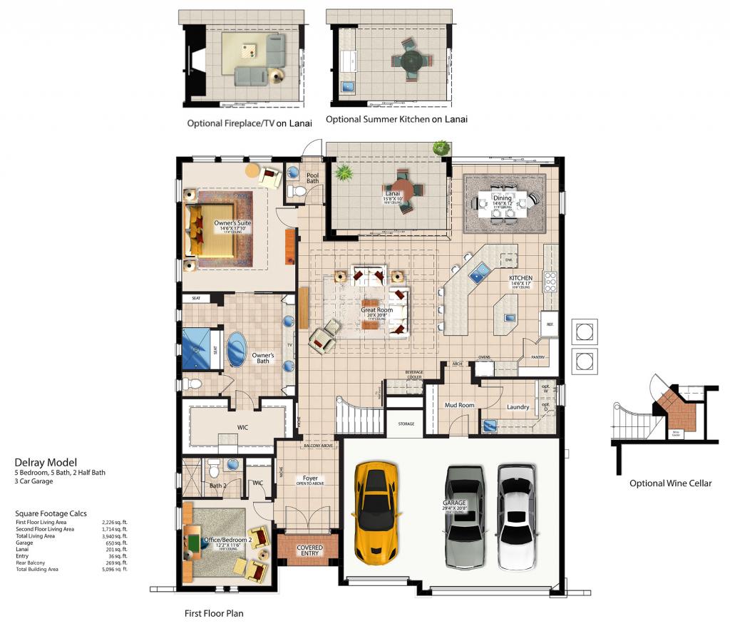 Delray First Floor Plan - Canopy Oaks Winter Garden Home  sc 1 st  Canopy Oaks & Delray Floor Plans u2014 Canopy Oaks